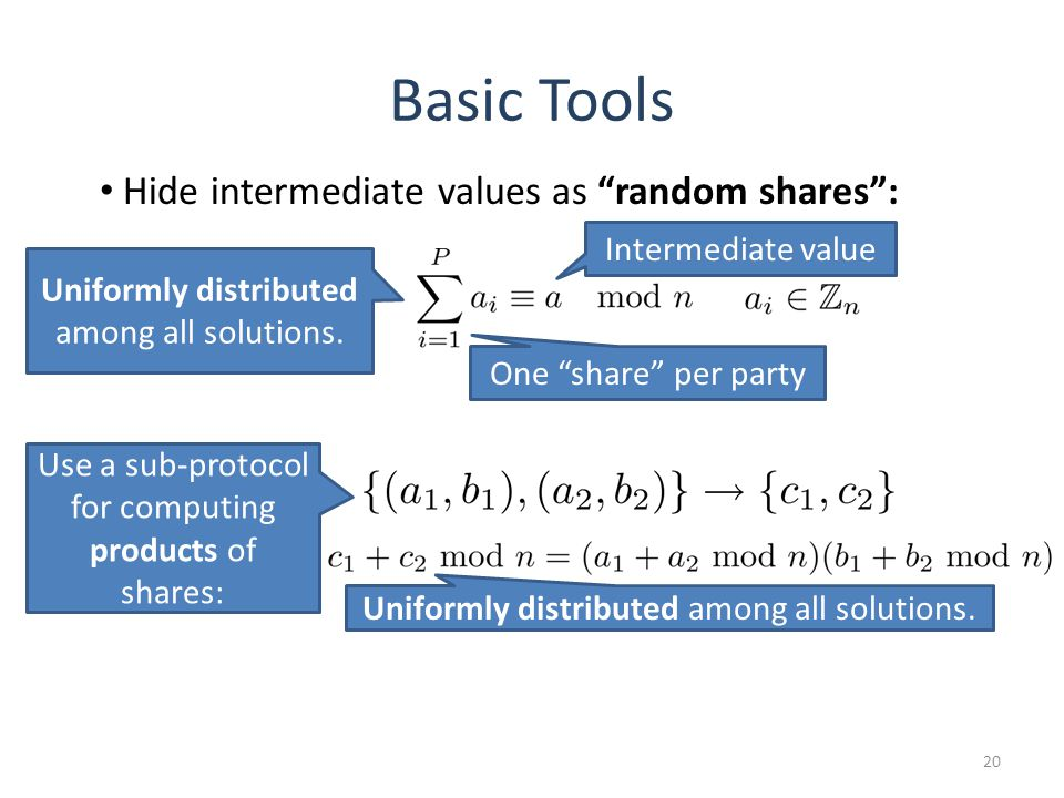 Basic Tools 20 Use a sub-protocol for computing products of shares: Uniformly distributed among all solutions.