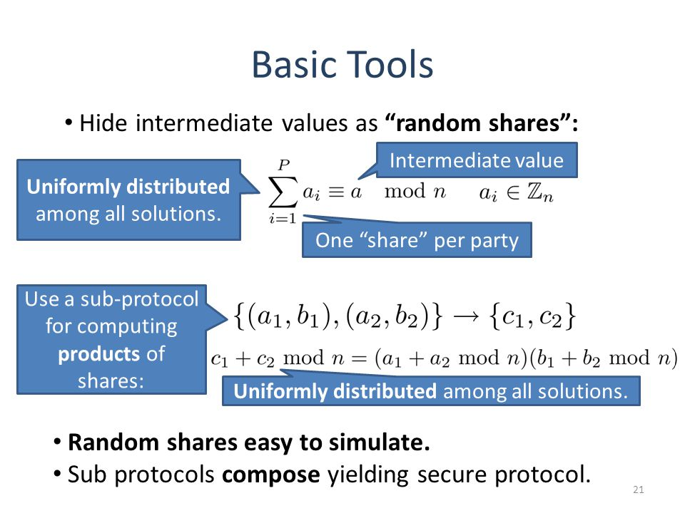 Basic Tools 21 Use a sub-protocol for computing products of shares: Uniformly distributed among all solutions. Random shares easy to simulate. Sub pro