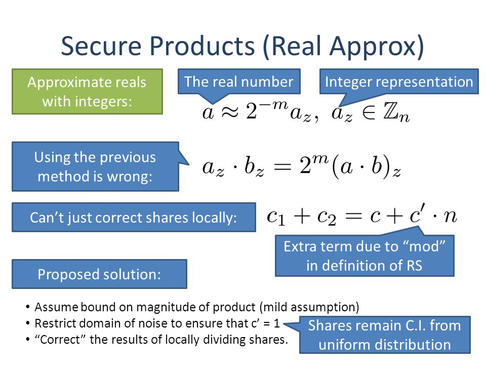 Secure Products (Real Approx) Approximate reals with integers: Using the previous method is wrong: Cant just correct shares locally: 37 The real numberInteger representation Extra term due to mod in definition of RS Proposed solution: Assume bound on magnitude of product (mild assumption) Restrict domain of noise to ensure that c = 1 Correct the results of locally dividing shares.