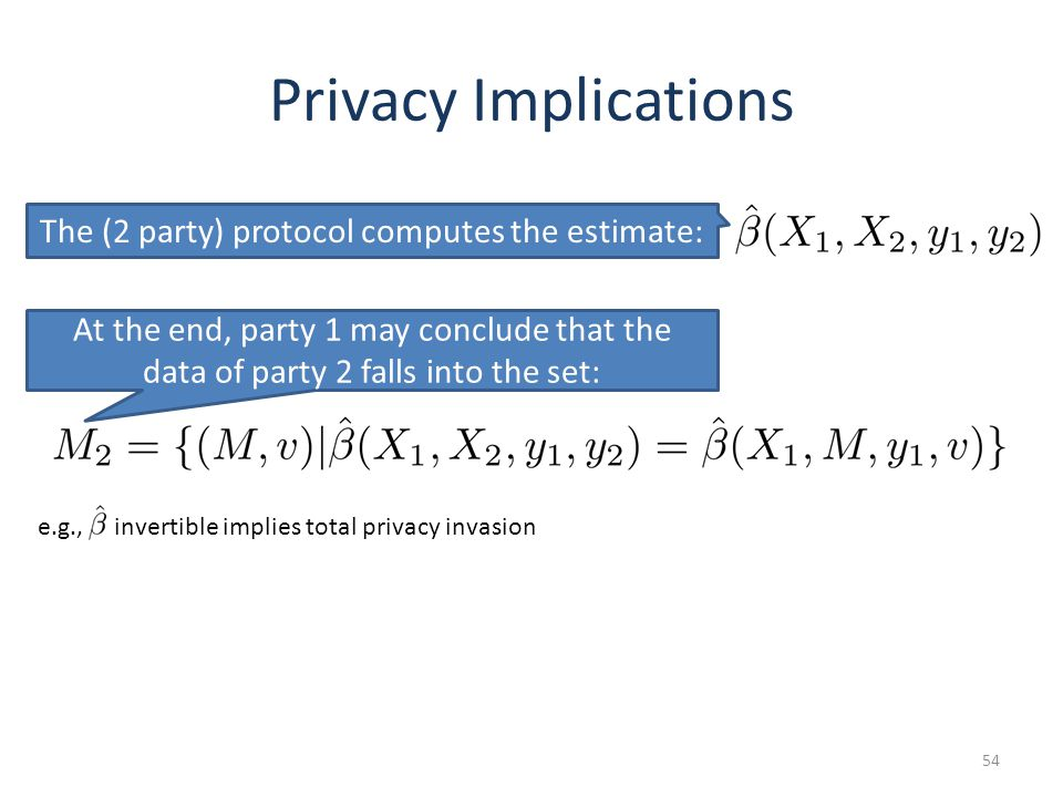Privacy Implications 54 The (2 party) protocol computes the estimate: At the end, party 1 may conclude that the data of party 2 falls into the set: e.