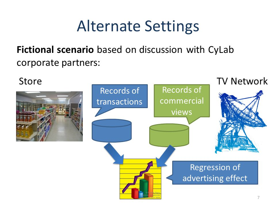 Alternate Settings 7 Fictional scenario based on discussion with CyLab corporate partners: Records of transactions Records of commercial views StoreTV