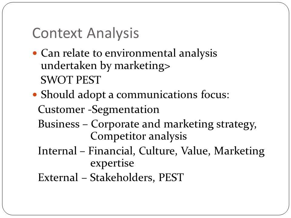 Context Analysis Can relate to environmental analysis undertaken by marketing> SWOT PEST Should adopt a communications focus: Customer -Segmentation B