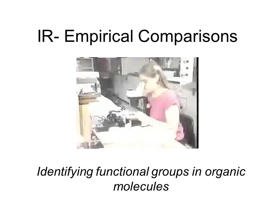 IR- Empirical Comparisons Identifying functional groups in organic molecules
