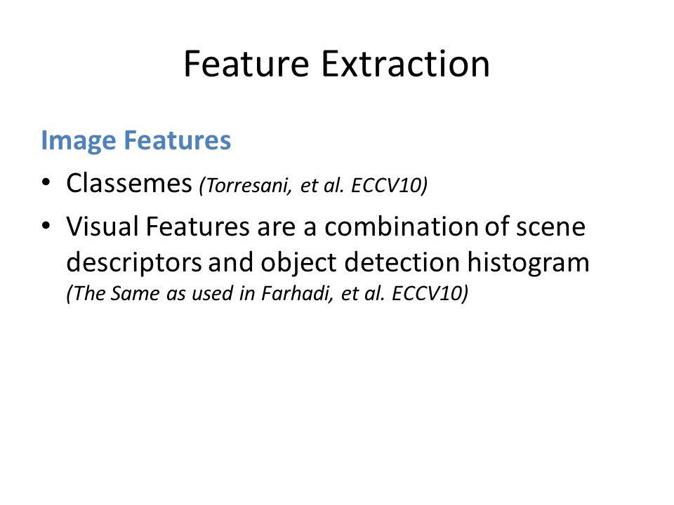 Feature Extraction Image Features Classemes (Torresani, et al.