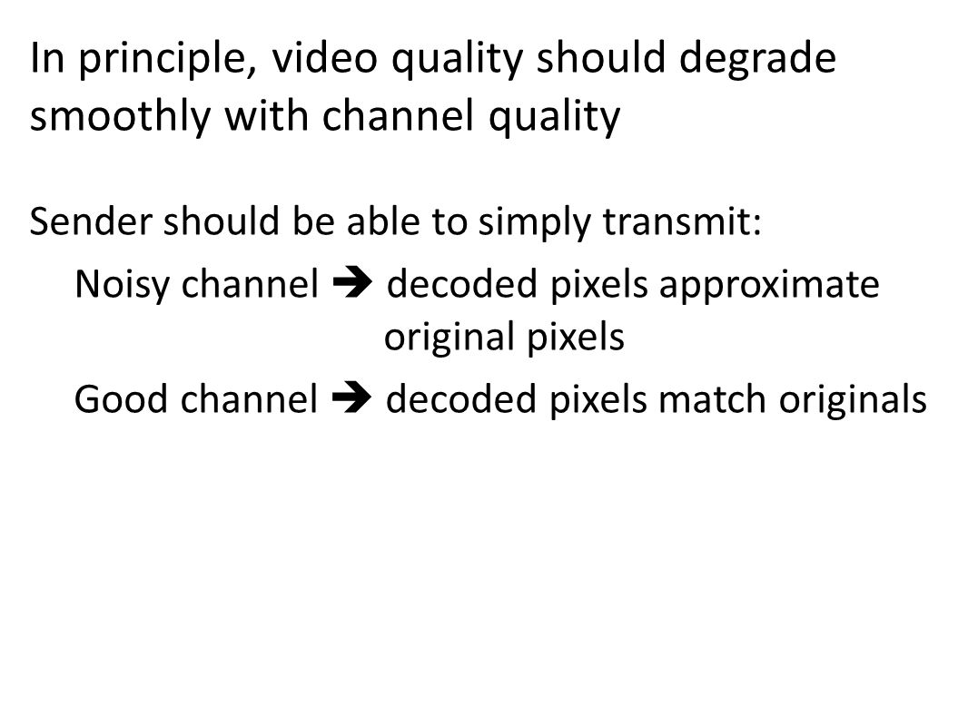 In principle, video quality should degrade smoothly with channel quality Sender should be able to simply transmit: Noisy channel decoded pixels approximate original pixels Good channel decoded pixels match originals