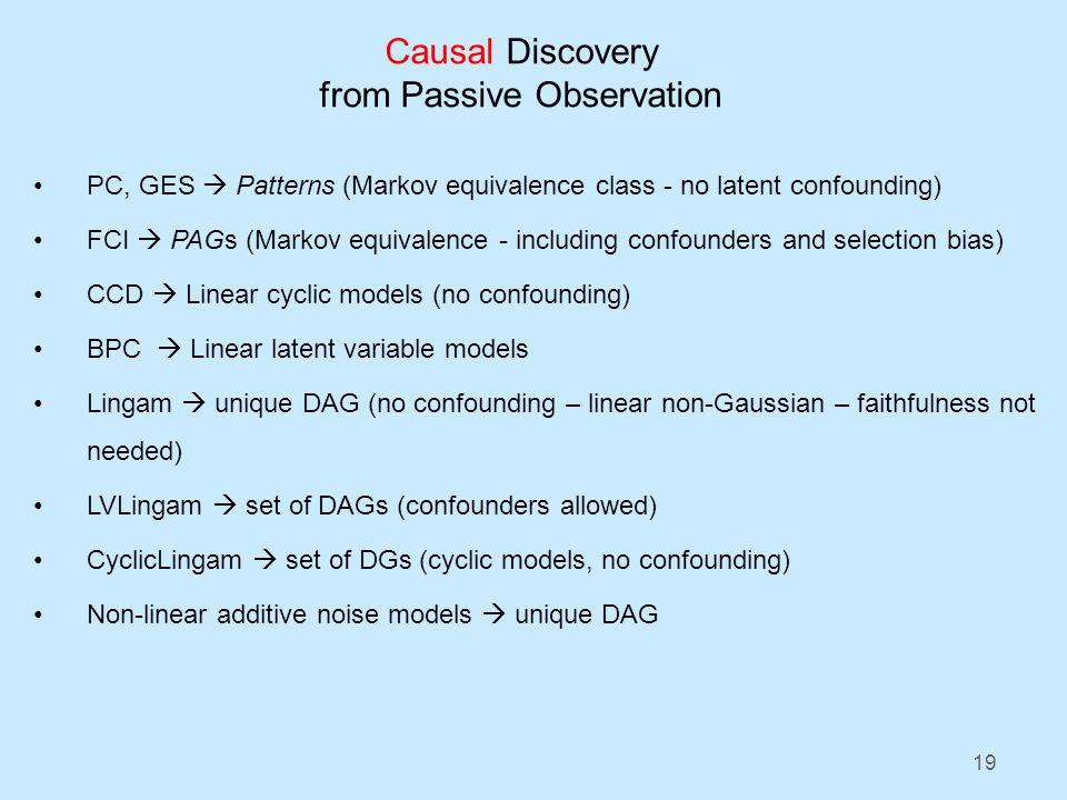 19 Causal Discovery from Passive Observation PC, GES Patterns (Markov equivalence class - no latent confounding) FCI PAGs (Markov equivalence - including confounders and selection bias) CCD Linear cyclic models (no confounding) BPC Linear latent variable models Lingam unique DAG (no confounding – linear non-Gaussian – faithfulness not needed) LVLingam set of DAGs (confounders allowed) CyclicLingam set of DGs (cyclic models, no confounding) Non-linear additive noise models unique DAG
