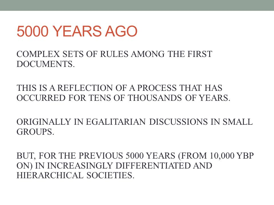 5000 YEARS AGO COMPLEX SETS OF RULES AMONG THE FIRST DOCUMENTS.