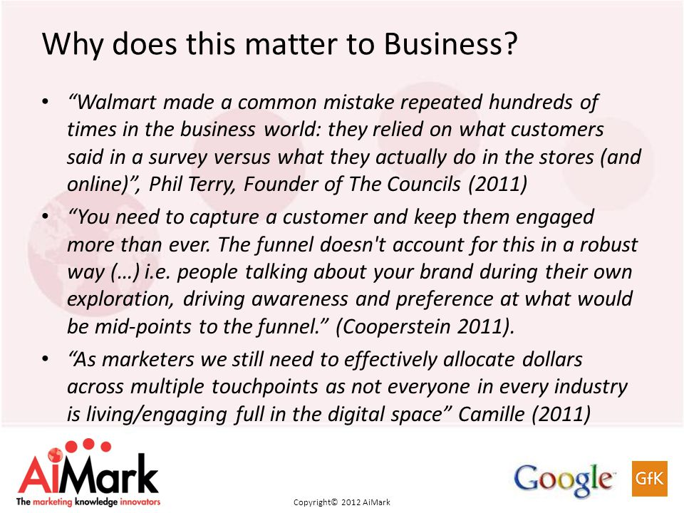 Copyright 2011 AiMark Copyright© 2012 AiMark Why does this matter to Business.