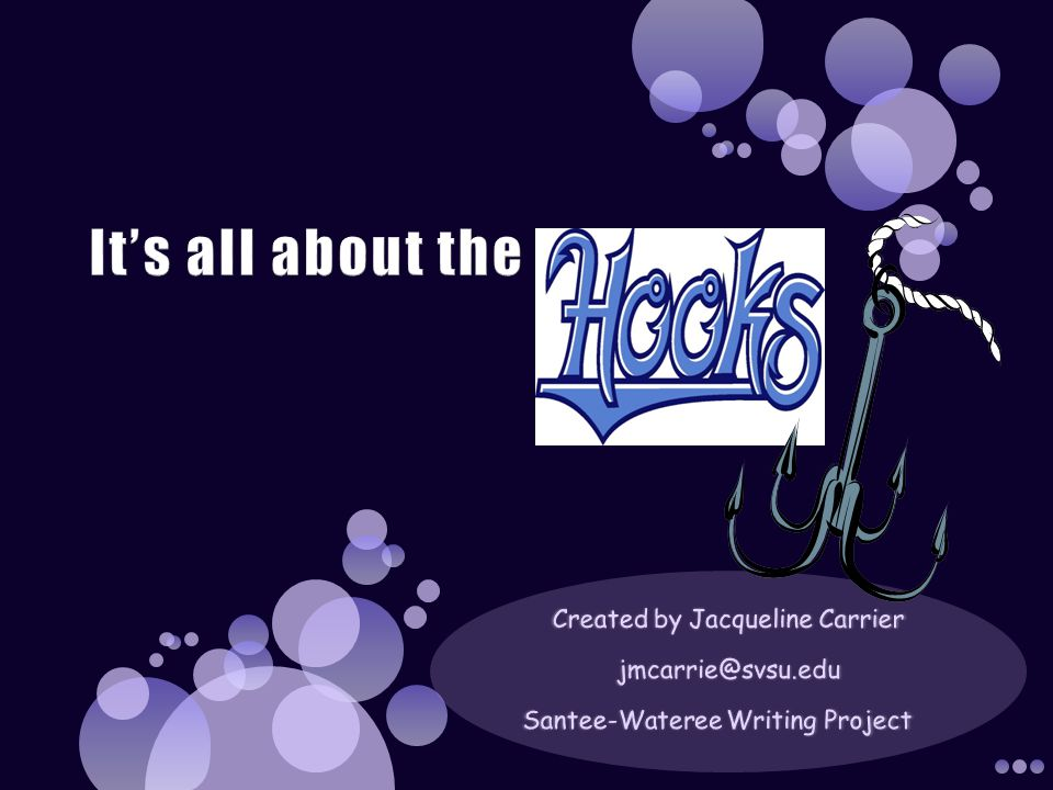 8 TYPES OF HOOKS Question When writing a question, try to create a picture in the readers mind.