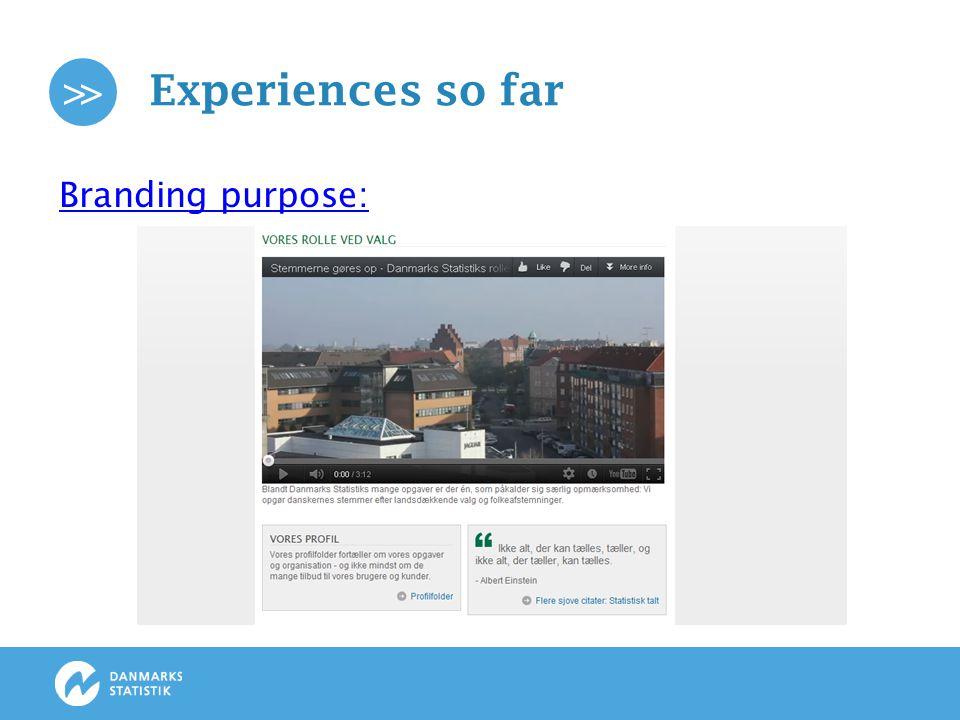 >> Experiences so far Internal communication: