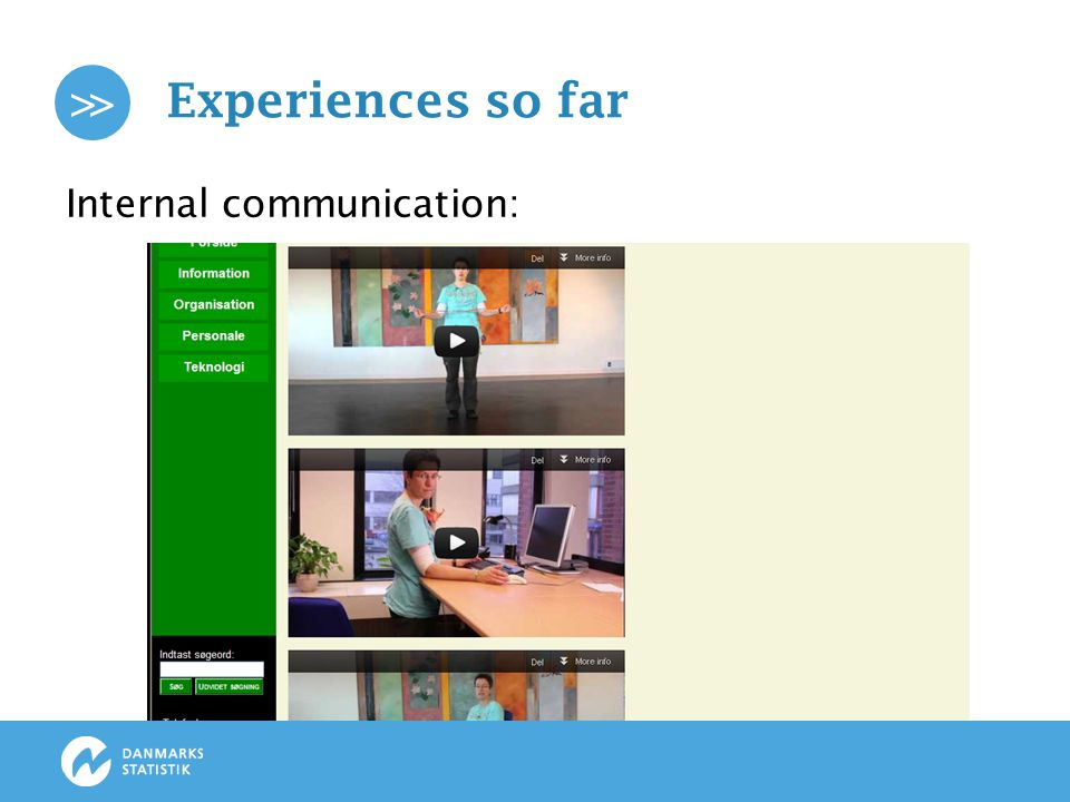 >> Experiences so far Internal communication: