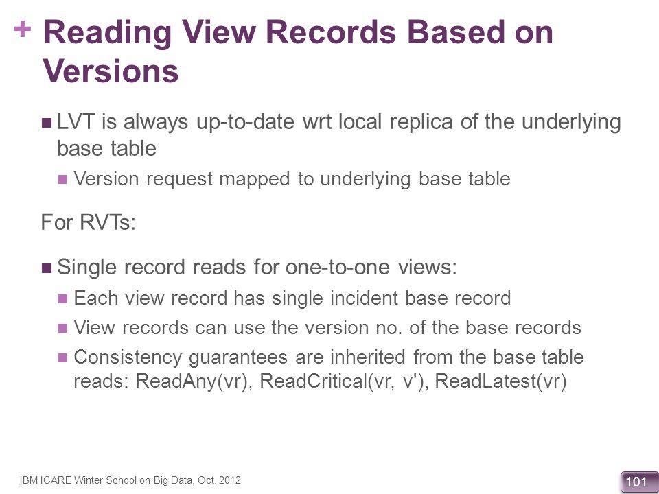 + 101 Reading View Records Based on Versions LVT is always up-to-date wrt local replica of the underlying base table Version request mapped to underly