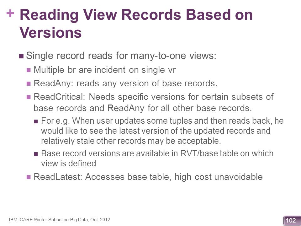 + 102 Reading View Records Based on Versions Single record reads for many-to-one views: Multiple br are incident on single vr ReadAny: reads any versi