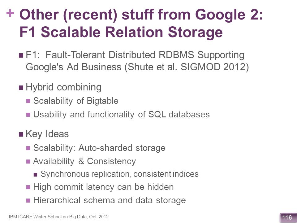 + 116 Other (recent) stuff from Google 2: F1 Scalable Relation Storage F1: Fault-Tolerant Distributed RDBMS Supporting Google's Ad Business (Shute et