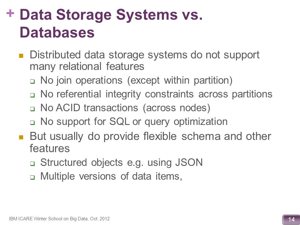 + 14 Data Storage Systems vs. Databases Distributed data storage systems do not support many relational features No join operations (except within par