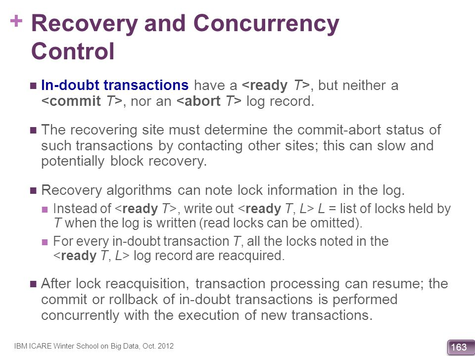 + 163 Recovery and Concurrency Control In-doubt transactions have a, but neither a, nor an log record. The recovering site must determine the commit-a