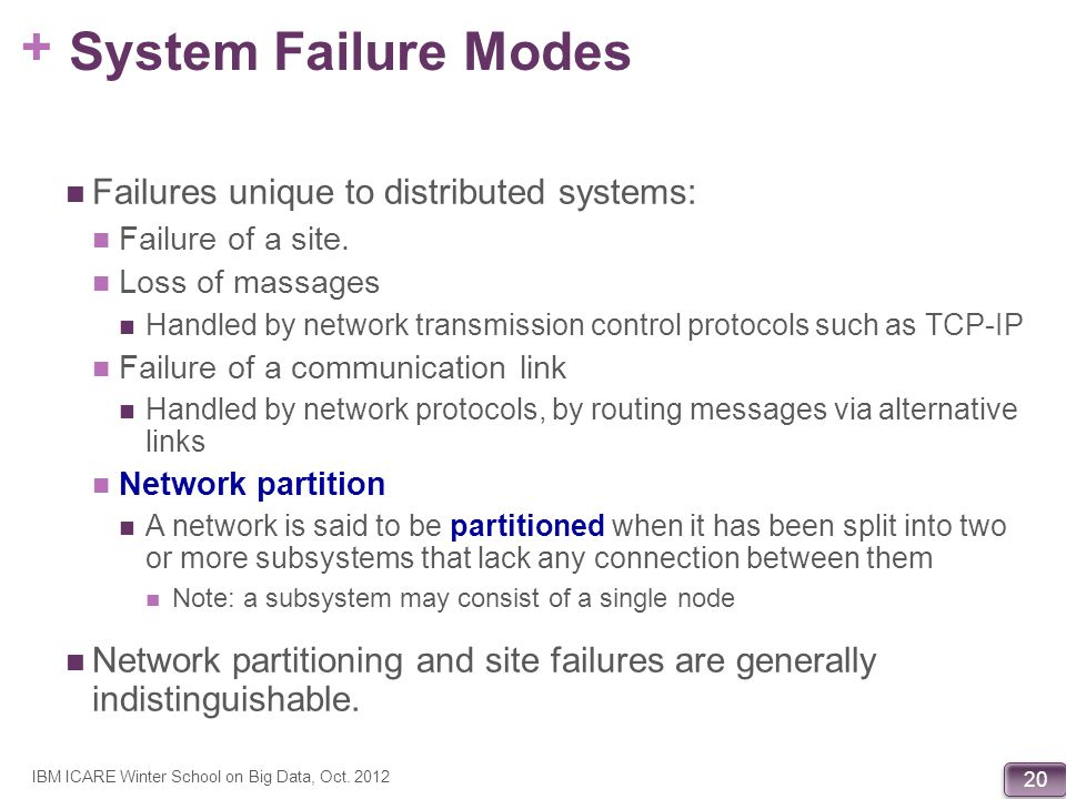 + 20 System Failure Modes Failures unique to distributed systems: Failure of a site. Loss of massages Handled by network transmission control protocol