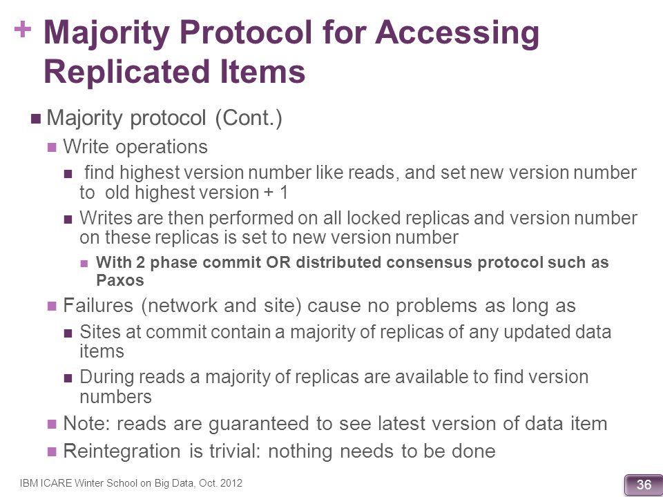 + 36 Majority Protocol for Accessing Replicated Items Majority protocol (Cont.) Write operations find highest version number like reads, and set new v