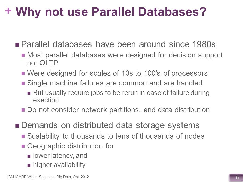 + 116 Other (recent) stuff from Google 2: F1 Scalable Relation Storage F1: Fault-Tolerant Distributed RDBMS Supporting Google s Ad Business (Shute et al.