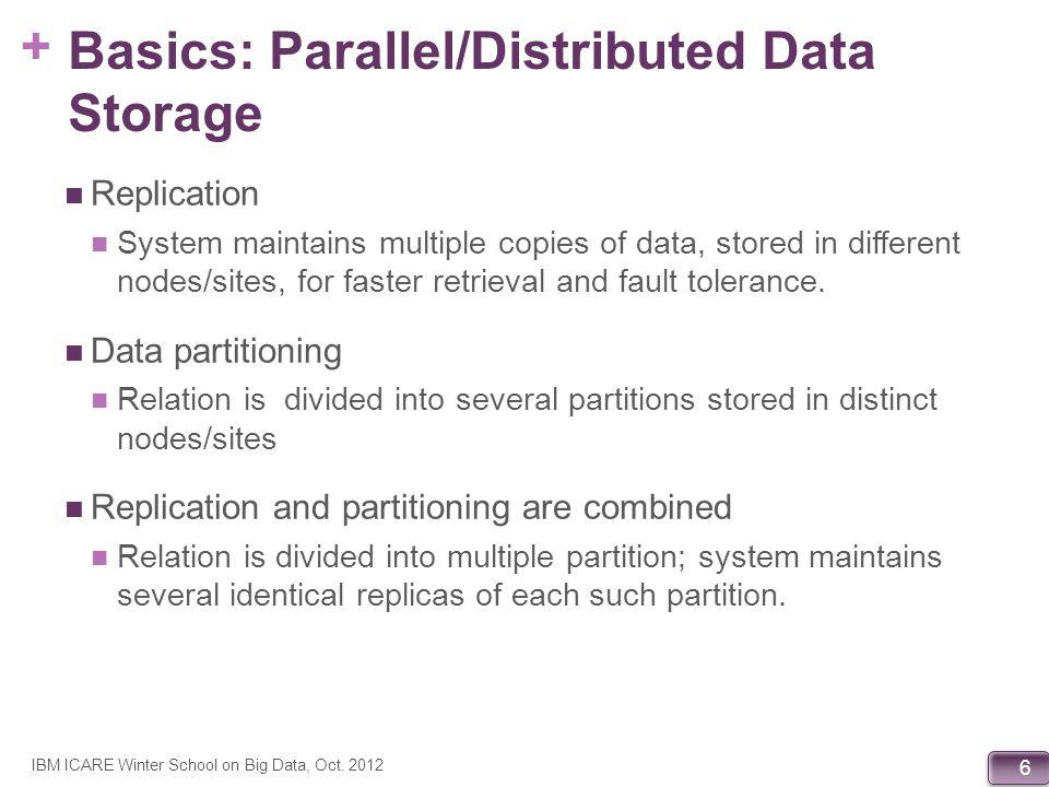 + 107 Megastore: Operations across Entity Groups (from Baker et al, CIDR 11) IBM ICARE Winter School on Big Data, Oct.