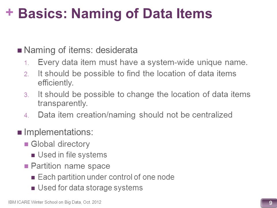 + 9 Basics: Naming of Data Items Naming of items: desiderata 1. Every data item must have a system-wide unique name. 2. It should be possible to find