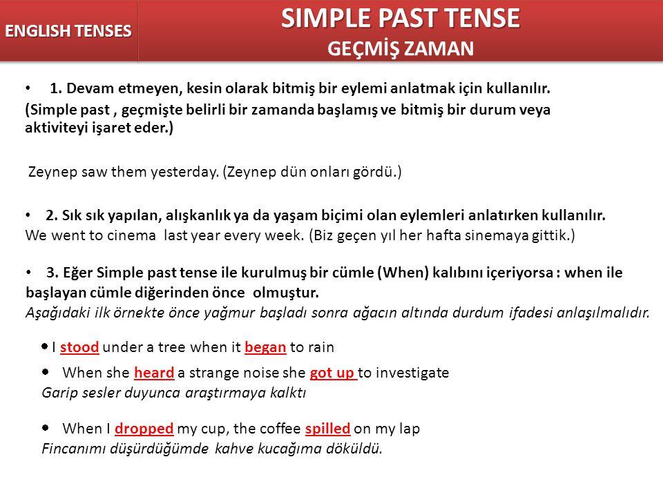 1. Devam etmeyen, kesin olarak bitmiş bir eylemi anlatmak için kullanılır. (Simple past, geçmişte belirli bir zamanda başlamış ve bitmiş bir durum vey