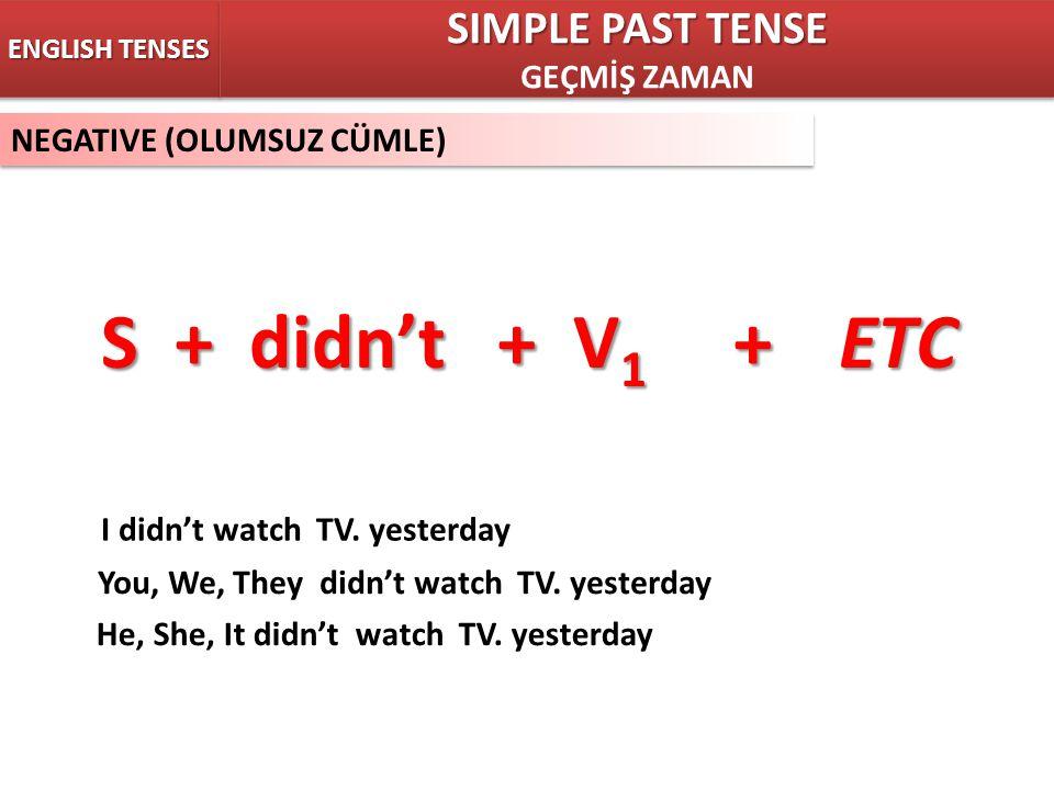 NEGATIVE (OLUMSUZ CÜMLE) ENGLISH TENSES S + didnt + V 1 +ETC SIMPLE PAST TENSE GEÇMİŞ ZAMAN SIMPLE PAST TENSE GEÇMİŞ ZAMAN I didnt watch TV. yesterday