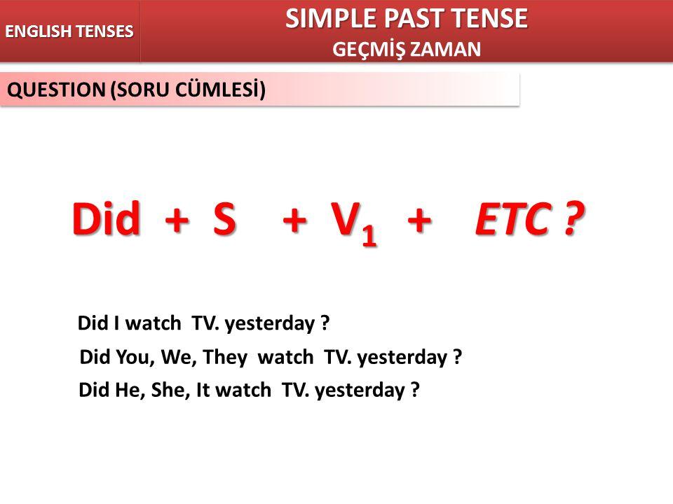 QUESTION (SORU CÜMLESİ) ENGLISH TENSES Did + S + V 1 +ETC ? SIMPLE PAST TENSE GEÇMİŞ ZAMAN SIMPLE PAST TENSE GEÇMİŞ ZAMAN Did I watch TV. yesterday ?