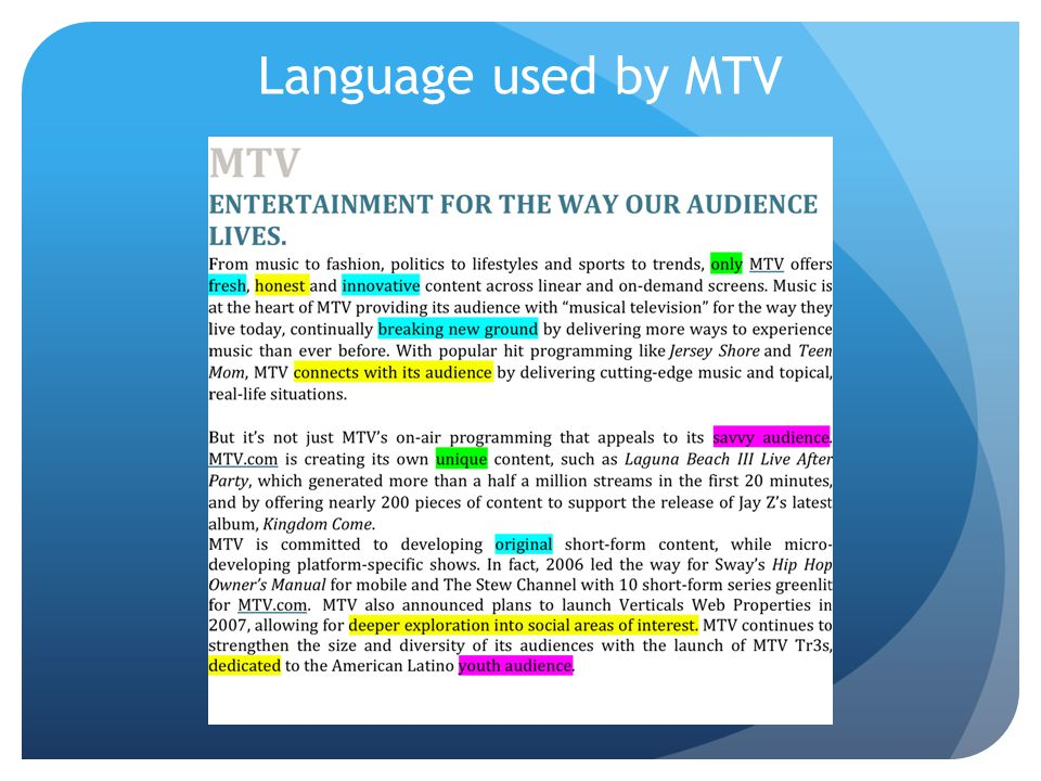 Language used by MTV