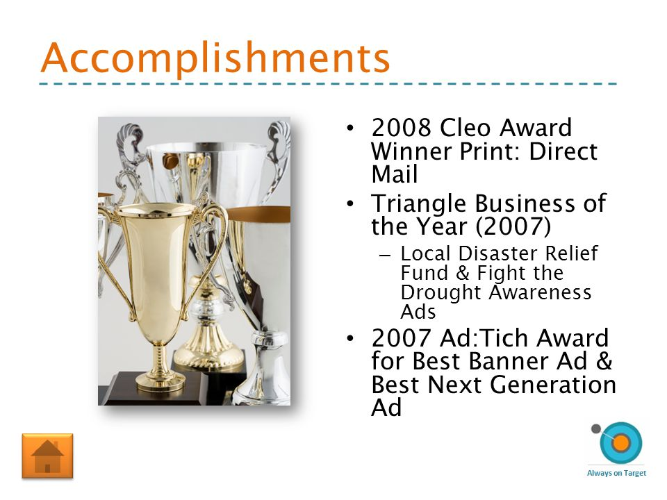 Accomplishments 2008 Cleo Award Winner Print: Direct Mail Triangle Business of the Year (2007) – Local Disaster Relief Fund & Fight the Drought Awareness Ads 2007 Ad:Tich Award for Best Banner Ad & Best Next Generation Ad