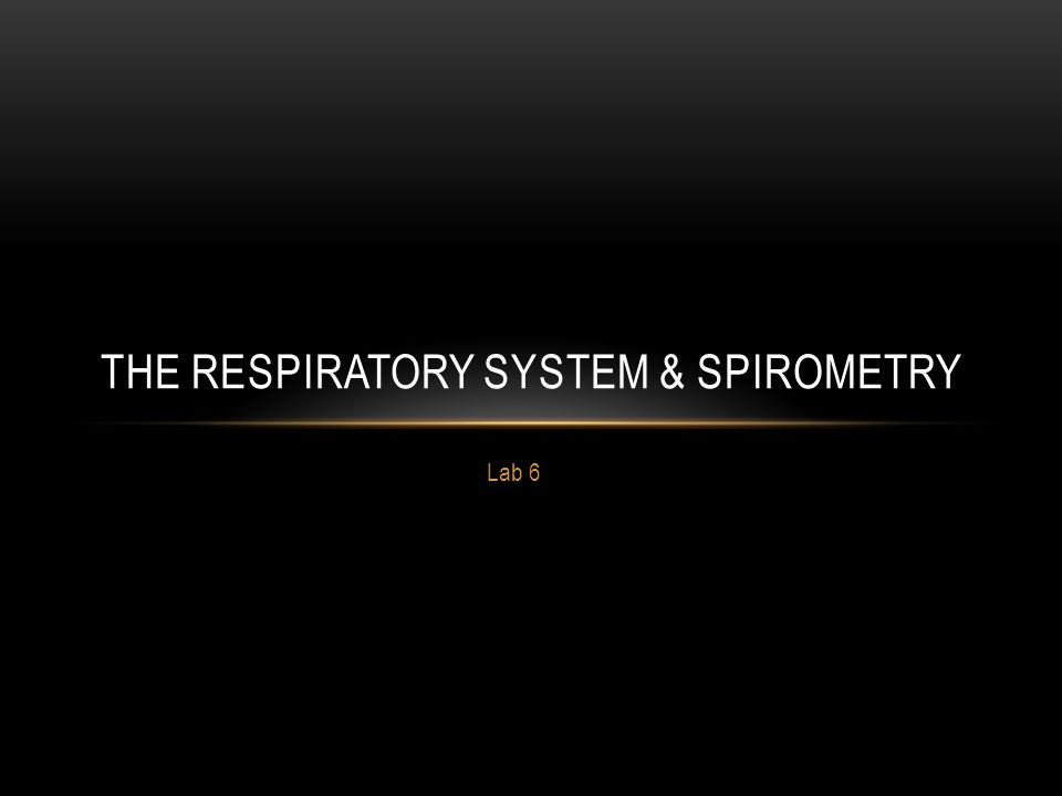 Lab 6 THE RESPIRATORY SYSTEM & SPIROMETRY