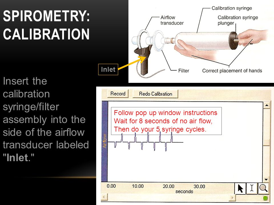 SPIROMETRY: CALIBRATION Insert the calibration syringe/filter assembly into the side of the airflow transducer labeled