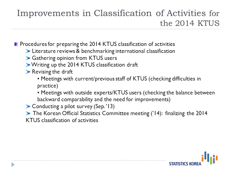 Procedures for preparing the 2014 KTUS classification of activities Literature reviews & benchmarking international classification Gathering opinion from KTUS users Writing up the 2014 KTUS classification draft Revising the draft Meetings with current/previous staff of KTUS (checking difficulties in practice) Meetings with outside experts/KTUS users (checking the balance between backward comparability and the need for improvements) Conducting a pilot survey (Sep.