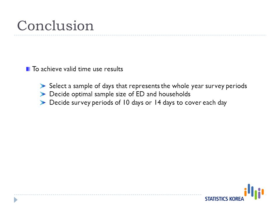 Conclusion To achieve valid time use results Select a sample of days that represents the whole year survey periods Decide optimal sample size of ED and households Decide survey periods of 10 days or 14 days to cover each day