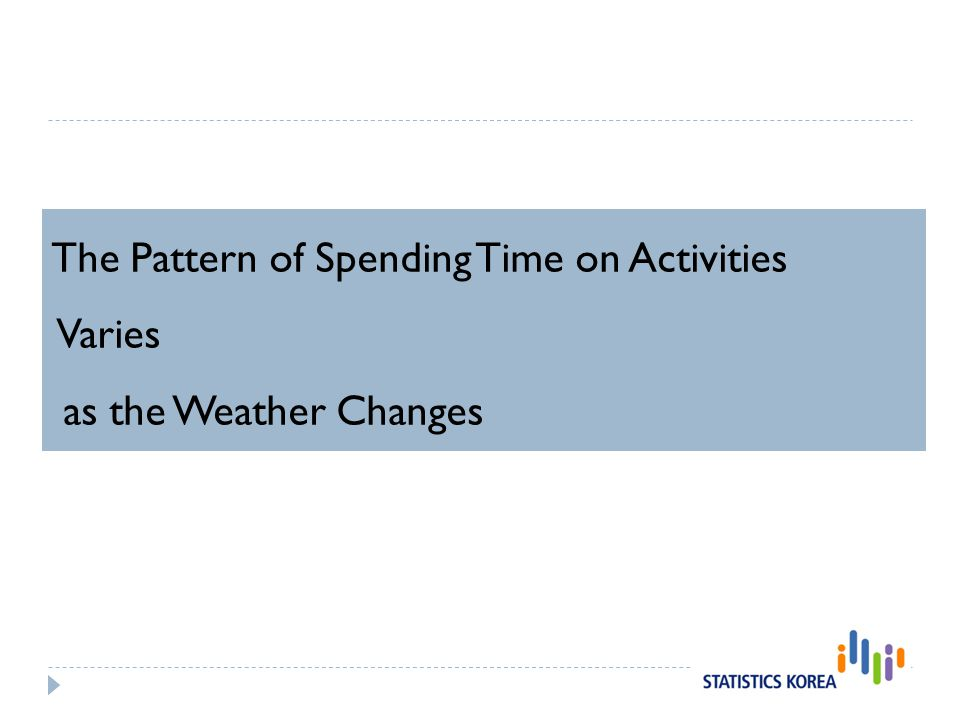 The Pattern of Spending Time on Activities Varies as the Weather Changes