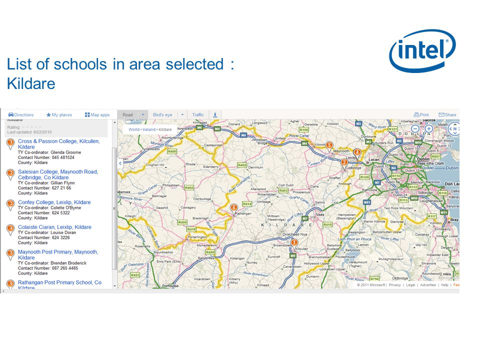 List of schools in area selected : Kildare