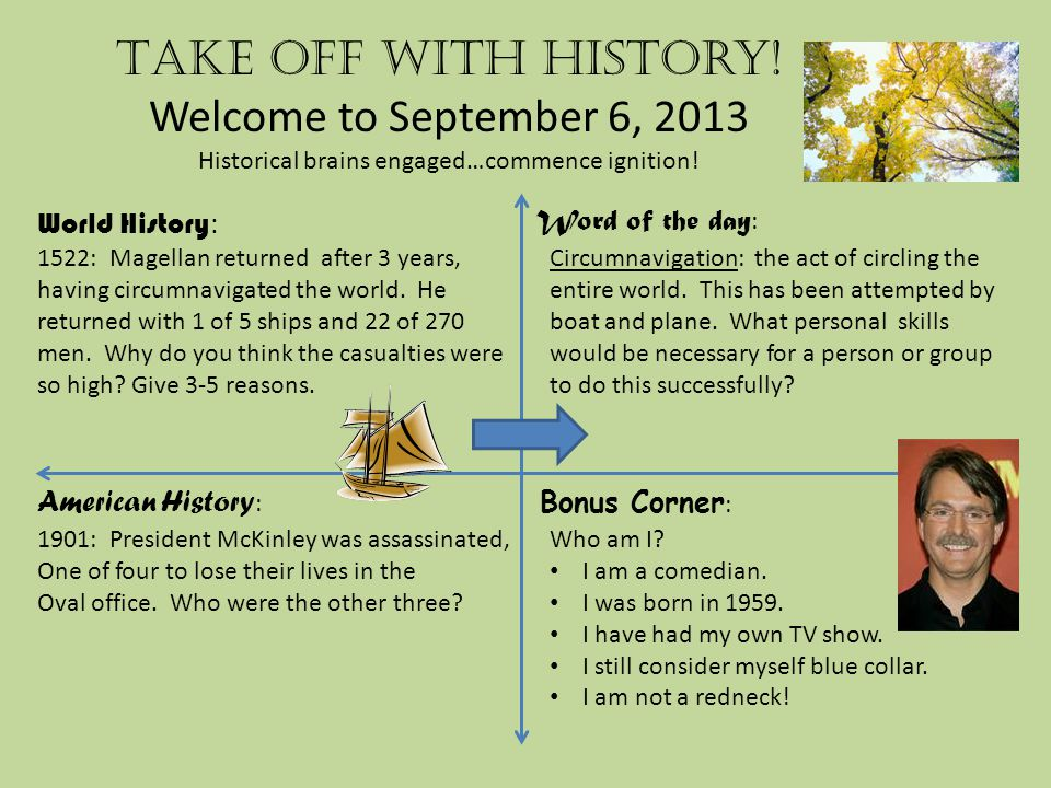 Take off with history.Welcome to September 7, 2013 Historical brains engaged…commence ignition.