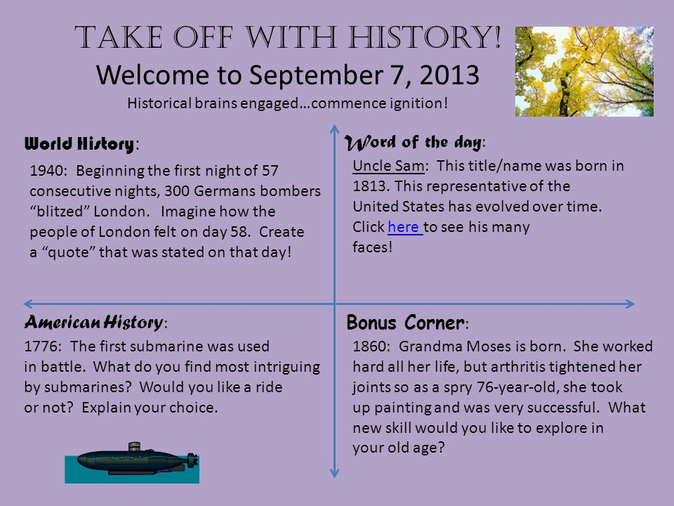 Take off with history.Welcome to September 8, 2013 Historical brains engaged…commence ignition.