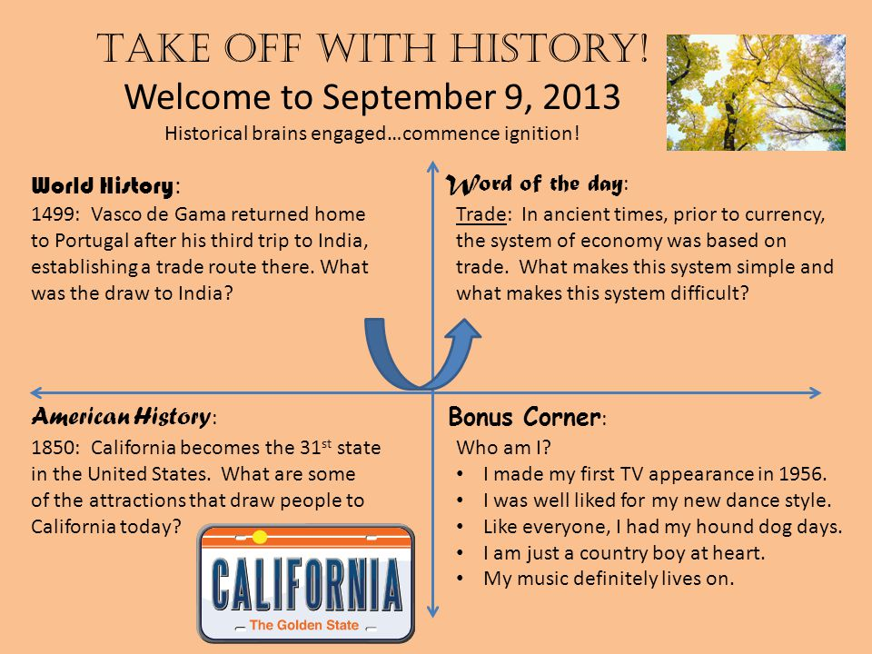 Take off with history.Welcome to September 10, 2013 Historical brains engaged…commence ignition.
