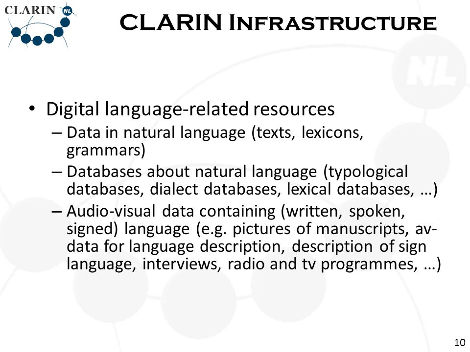 Digital language-related resources – Data in natural language (texts, lexicons, grammars) – Databases about natural language (typological databases, dialect databases, lexical databases, …) – Audio-visual data containing (written, spoken, signed) language (e.g.