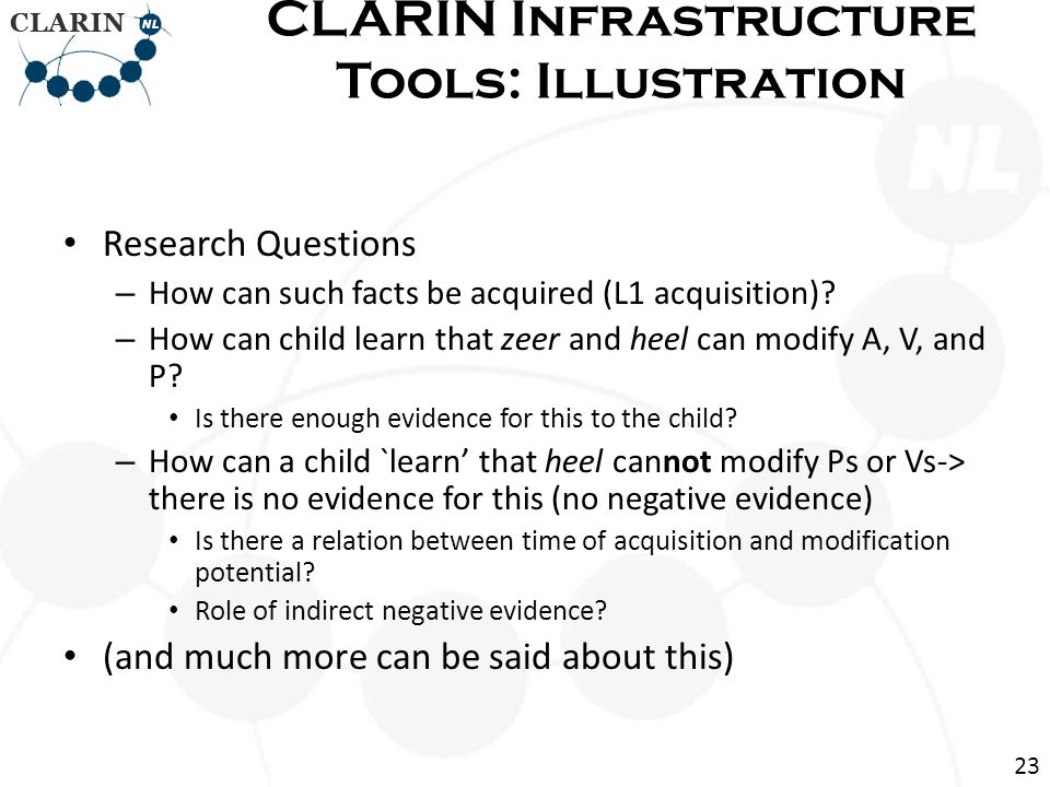 Research Questions – How can such facts be acquired (L1 acquisition).