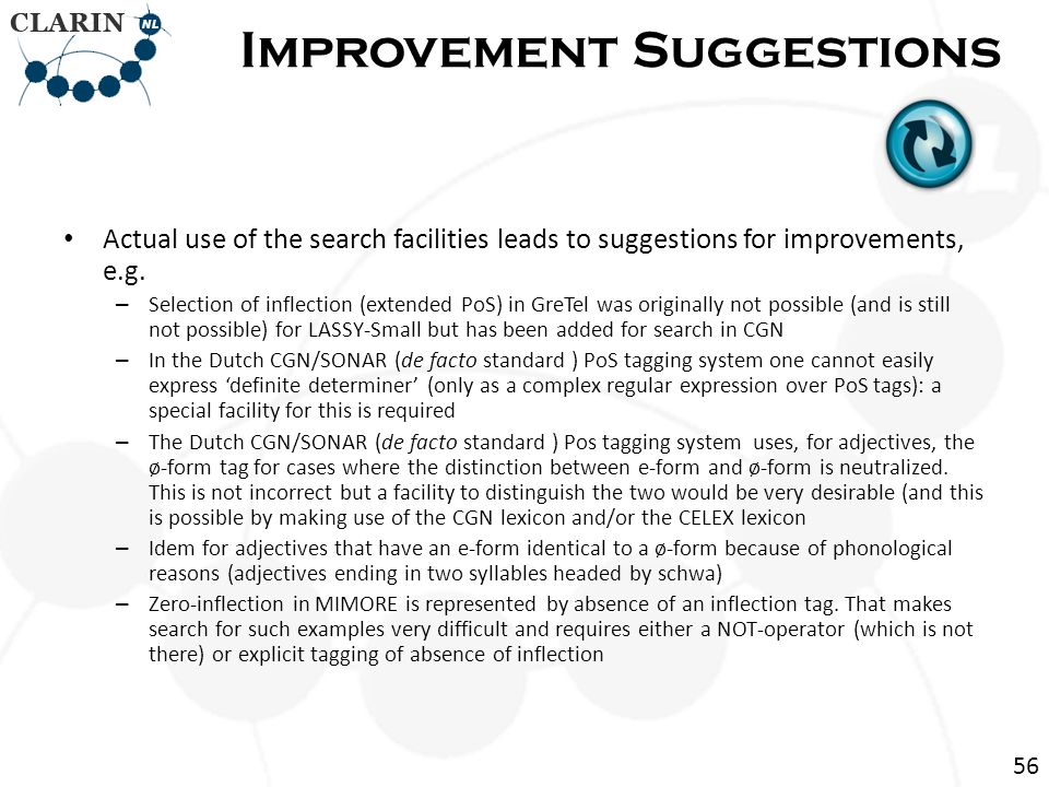 Actual use of the search facilities leads to suggestions for improvements, e.g.