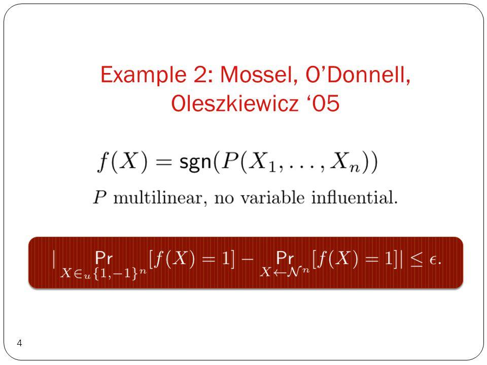 Example 2: Mossel, ODonnell, Oleszkiewicz 05 4