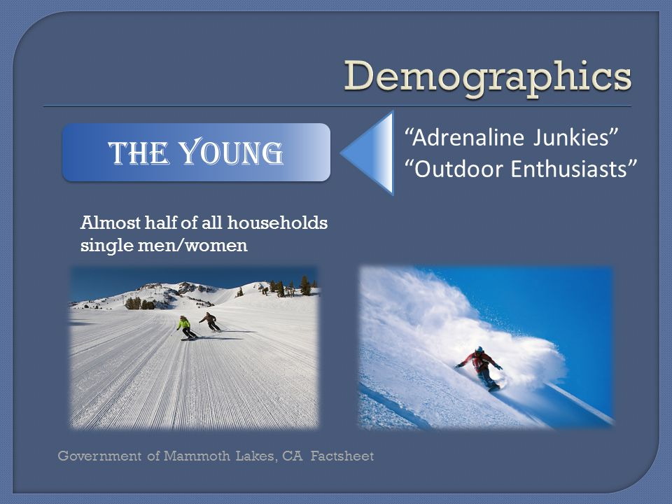 The Young Adrenaline Junkies Outdoor Enthusiasts Almost half of all households single men/women Government of Mammoth Lakes, CA Factsheet