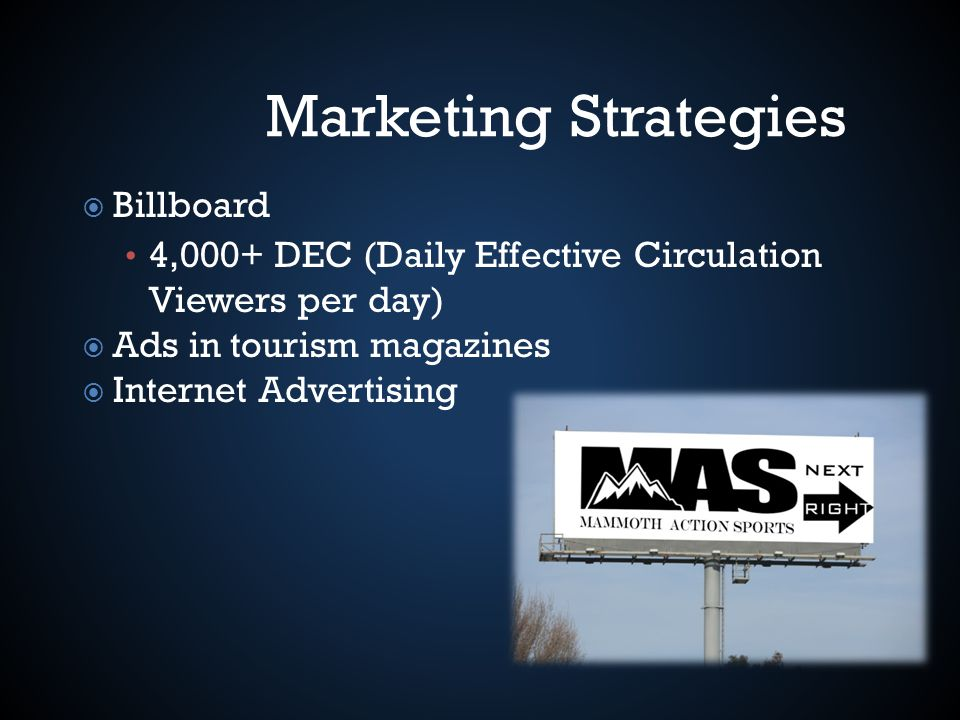 Marketing Strategies Billboard 4,000+ DEC (Daily Effective Circulation Viewers per day) Ads in tourism magazines Internet Advertising