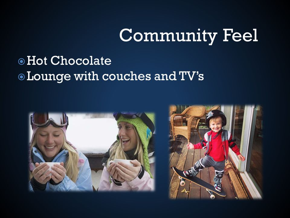 Hot Chocolate Lounge with couches and TVs Community Feel