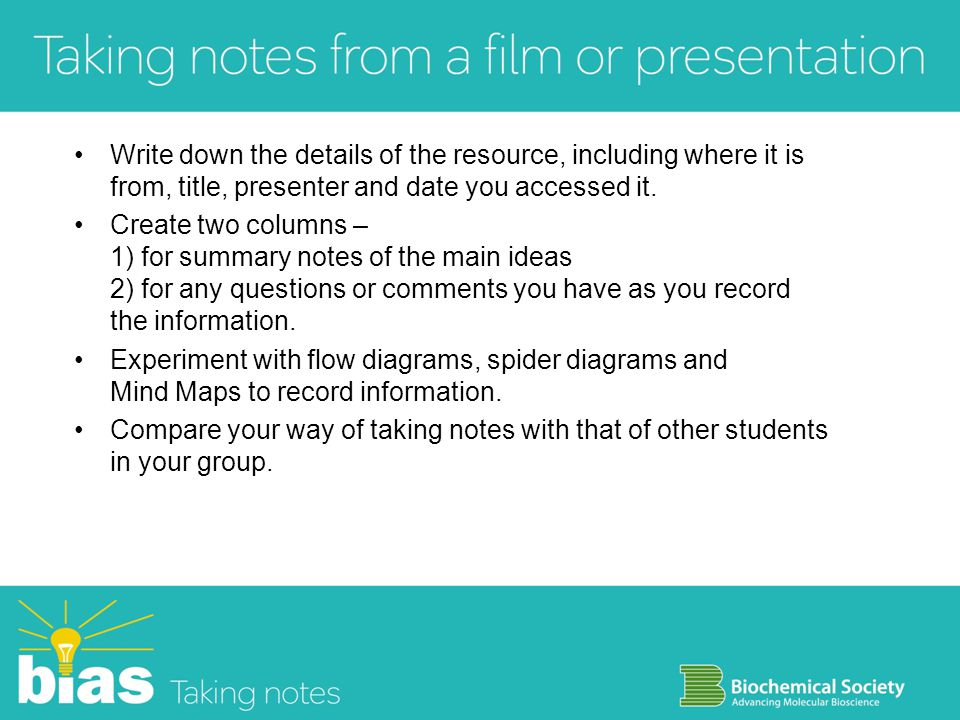 Write down the details of the resource, including where it is from, title, presenter and date you accessed it.