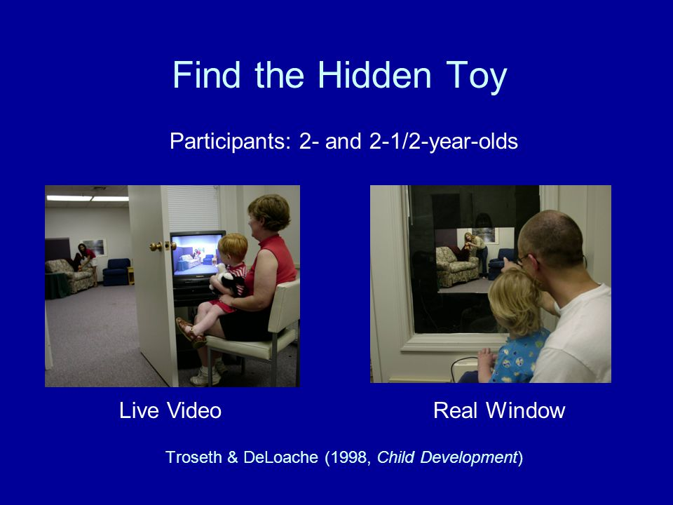 Find the Hidden Toy Participants: 2- and 2-1/2-year-olds Troseth & DeLoache (1998, Child Development) Live VideoReal Window