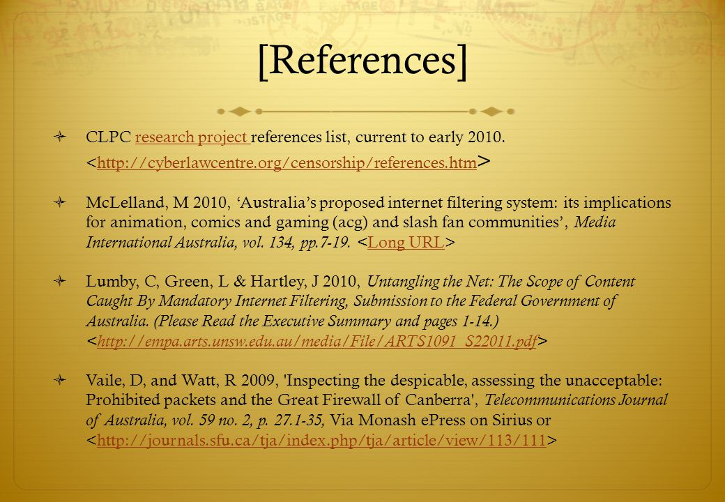 [References] CLPC research project references list, current to early 2010.