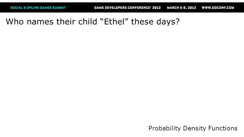 Who names their child Ethel these days Probability Density Functions